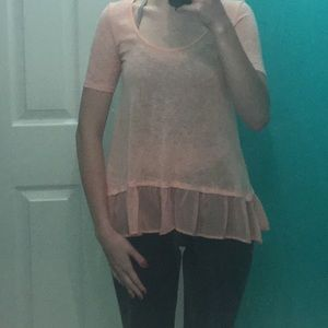 Juniors Small short sleeve peach ruffle top